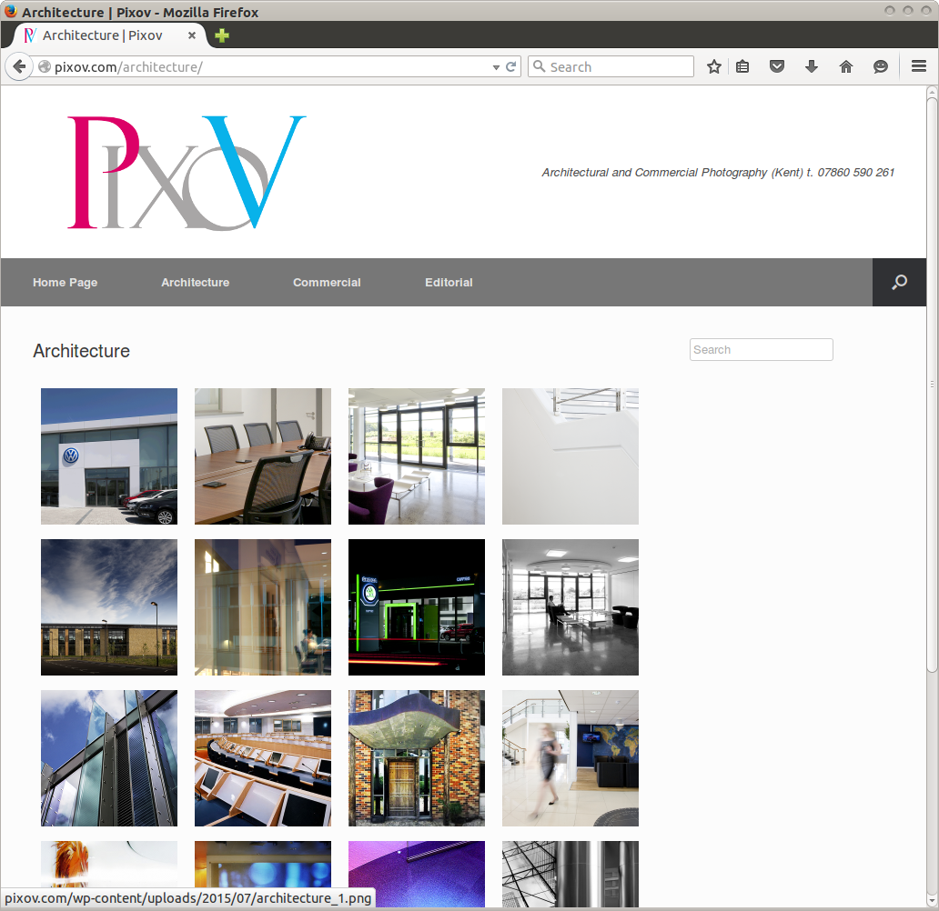 Pixov Photography website