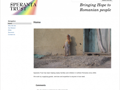 Speranta Trust Charity website